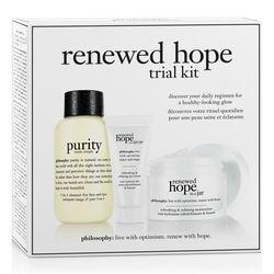 Philosophy Renewed Hope In A Jar Refreshing & Refining Moisturizer, Refreshing & Refining Eye Cream And Purity Made Simple One-step Facial Cleanser,renewed Hope Trial Kit