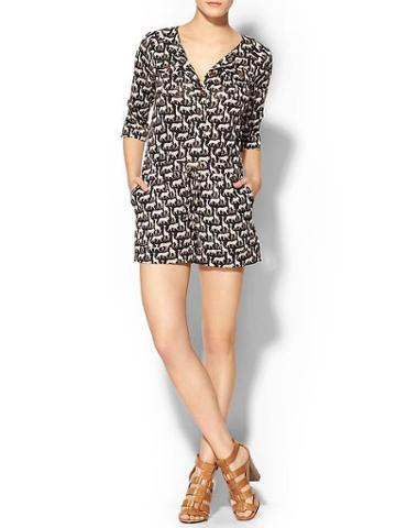 Dvf Opal Silk Romper - Cork Jungle Black