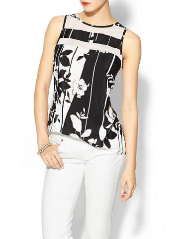 Tinley Road Sheer Stripe Shell Top - Black White Print
