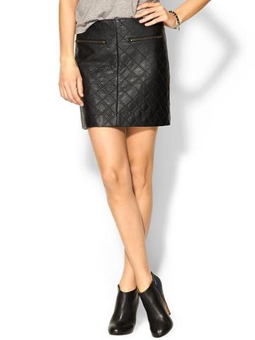 Tinley Road Quilted Vegan Leather Skirt - Black