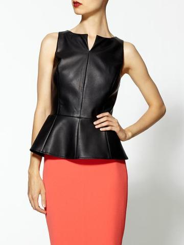 Tinley Road Faux Leather Peplum Top