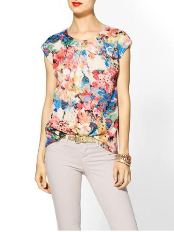 Tinley Road Pleated Floral Print Top