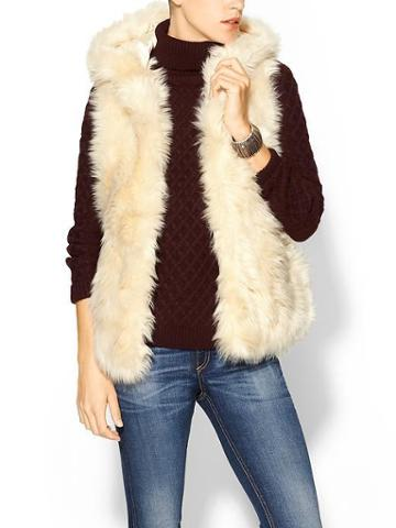 Sabine Furry Hooded Vest - Cream