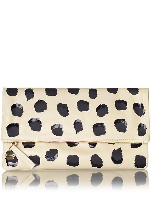 Clare V. Womens Supreme Foldover Clutch Size One Size - Cream Milano W/ Black Glossy & Matte Double Dots