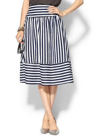 Joa Panel Skirt - Navy Stripe