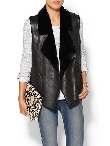 French Connection Winter Rhonda Faux Leather Vest - Black
