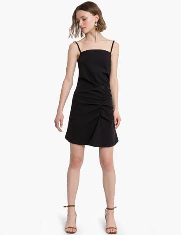 Pixie Market Ava Black Asymmetric Ruched Dress