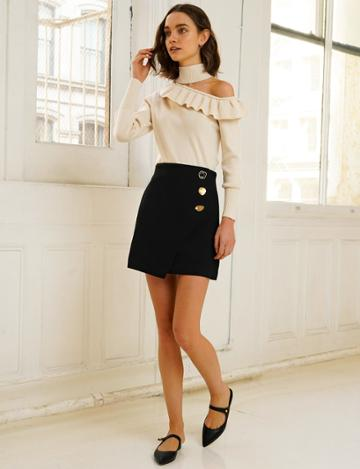 Pixie Market Riley Black Button Mini Skirt
