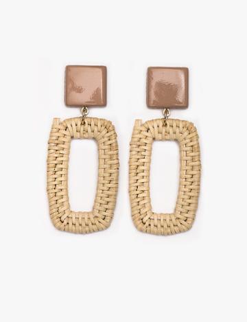 Pixie Market Rectangle Straw Earrings