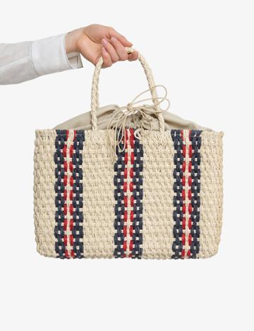 Pixie Market Striped Raffia Straw Bag