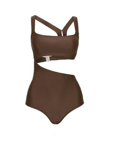 Pixie Market Brown Asymmetric Swimsuit