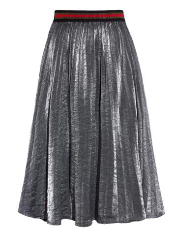 Pixie Market Grey Metallic Pleated Midi Skirt