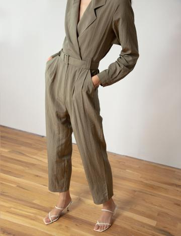 Pixie Market Olive Double-breasted Jumpsuit