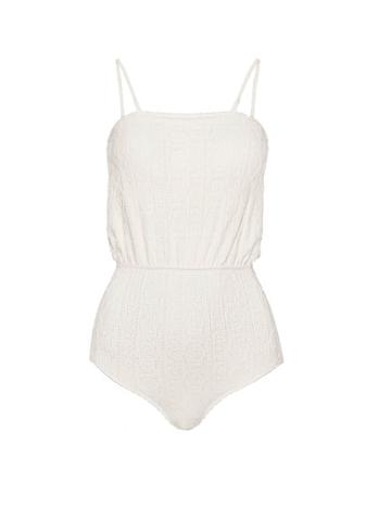 Pixie Market Textured Crinkled Ivory Swimsuit