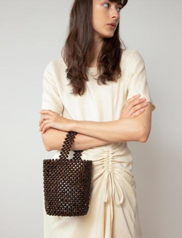 Pixie Market Brown Beaded Top Handle Bag