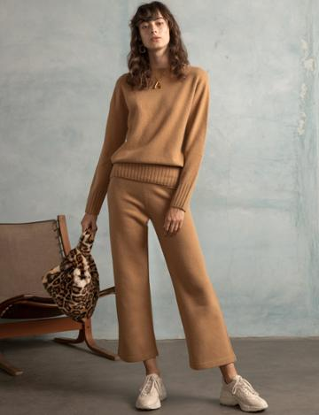 Pixie Market Brown Knit Matching Sweater And Pant Set