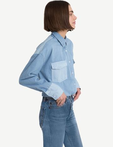 Pixie Market Two Tone Denim Shirt