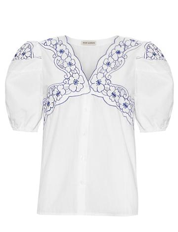 Pixie Market Floral Embroidered Blouse