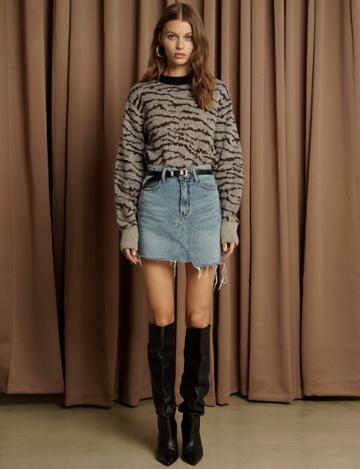 Pixie Market Grey Zebra Print Sweater