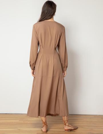 Pixie Market Brown Waist Tie Maxi Dress