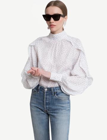 Pixie Market Jane Ruffled Sleeve Heart Dot Blouse