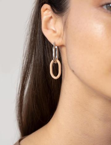Pixie Market Beige Link Hoop Earrings