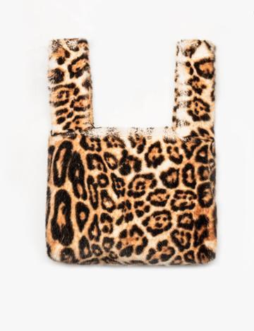 Pixie Market Leopard Faux Fur Pull Through Bag