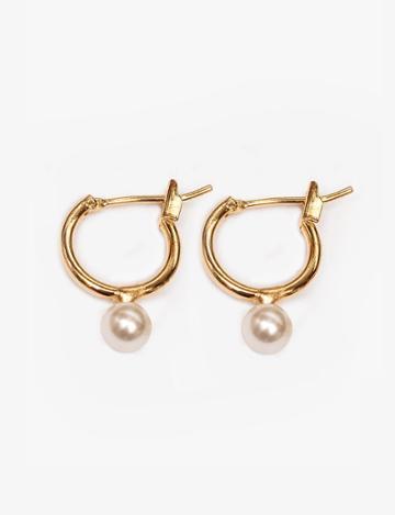 Pixie Market Pearl Mini Hoop Earrings