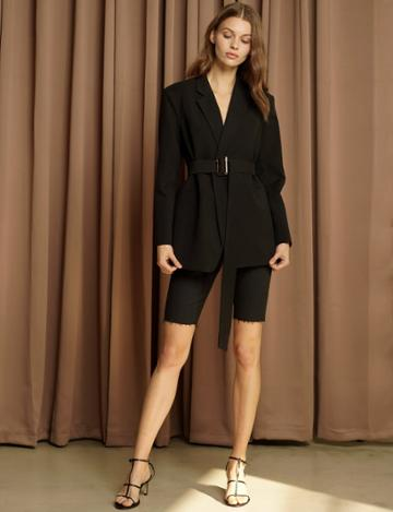 Pixie Market Briana Belted Black Blazer -15% Off