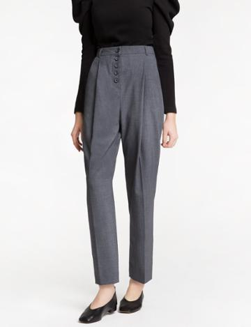 Pixie Market Grey Button Pleated High Waisted Pants