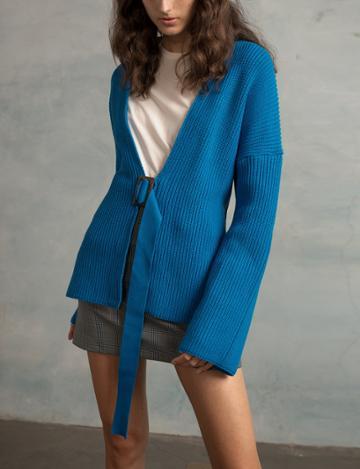 Pixie Market Blue Belted Cardigan