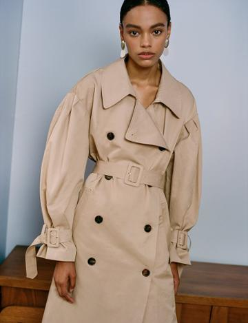 Pixie Market Tan Oversize Belted Trench Coat