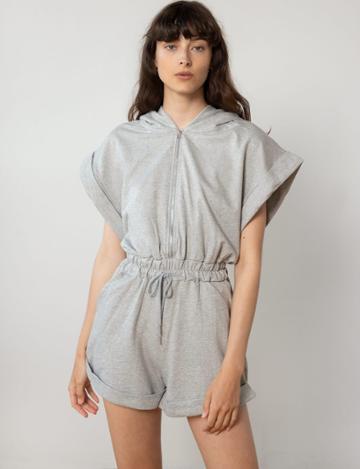 Pixie Market Grey Zip Sweat Romper
