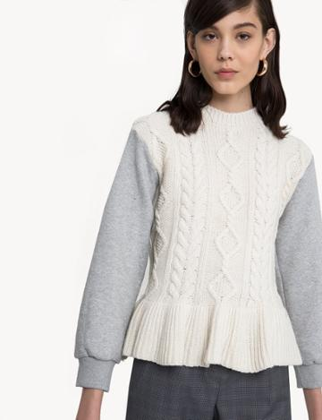 Pixie Market Siena Cable Knit Sweatshirt Sleeve Top