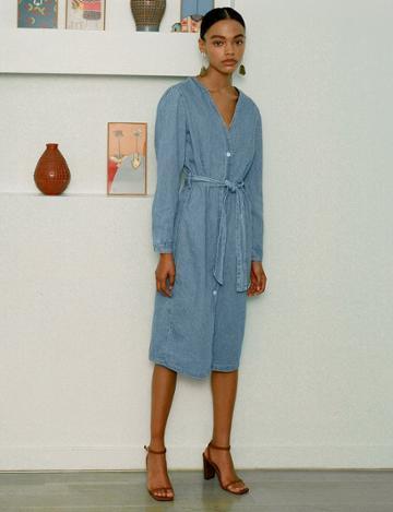 Pixie Market Denim Midi Belted Button Dress