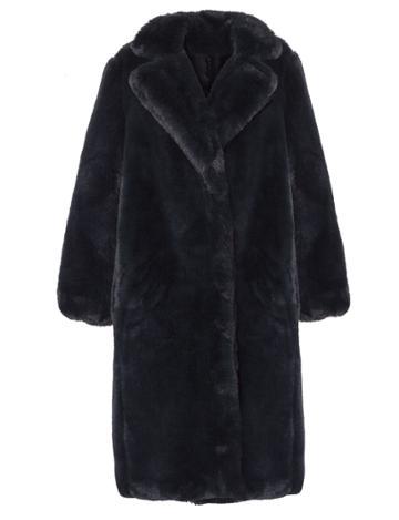 Pixie Market Long Navy Faux Fur Coat