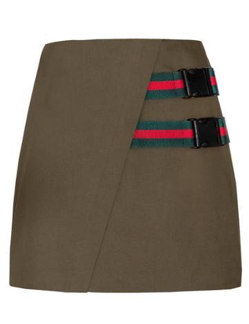Pixie Market Clip Buckled Olive Mini Skirt