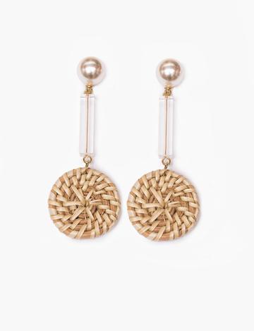 Pixie Market Pearl Wicker Drop Earrings