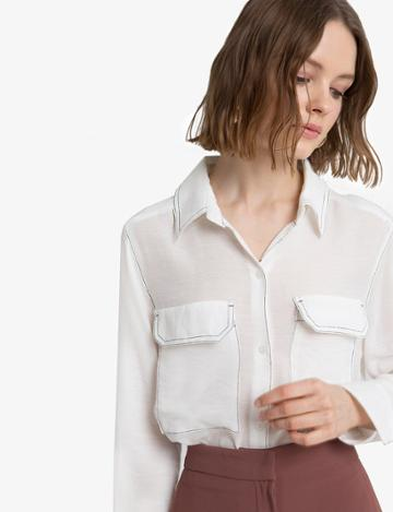 Pixie Market Contrast Stitch White Shirt