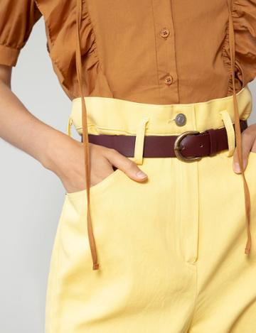 Pixie Market Yellow Belted Paperbag Waist Pants
