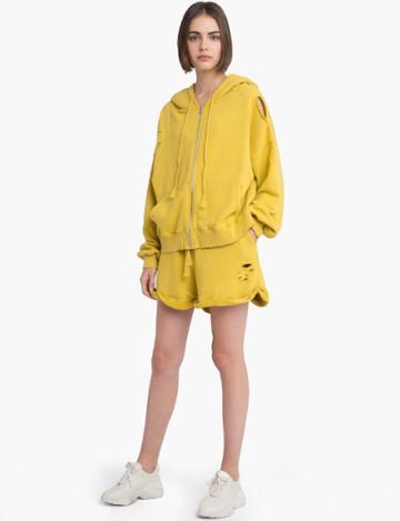 Pixie Market Yellow Sweatshirt Zip Hoodie Jacket