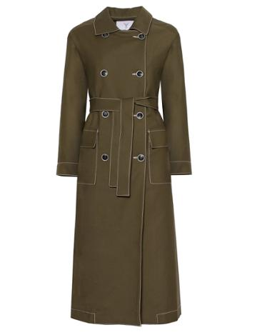 Pixie Market Olive Contrast Stitch Trench Coat