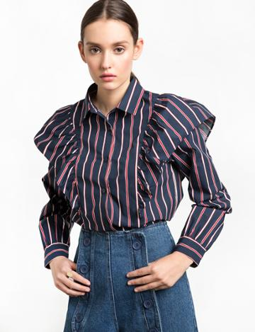 Pixie Market Navy And Red Striped Ruffled Shirt