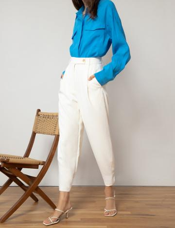 Pixie Market Off White Ankle Cuff Pants
