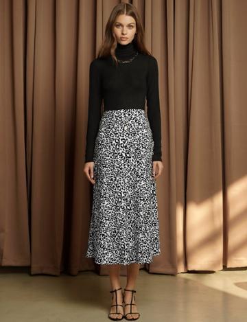 Pixie Market Rene White Leopard Silky Skirt