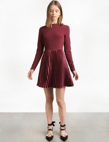 Pixie Market Burgundy Pleated Dress