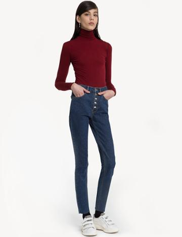 Pixie Market Red Fitted Turtleneck Top