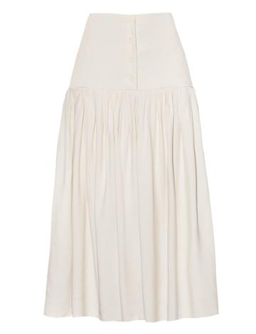Pixie Market Ivory Button Midi Skirt