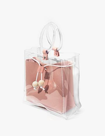 Pixie Market Pink Clear Ring Bag