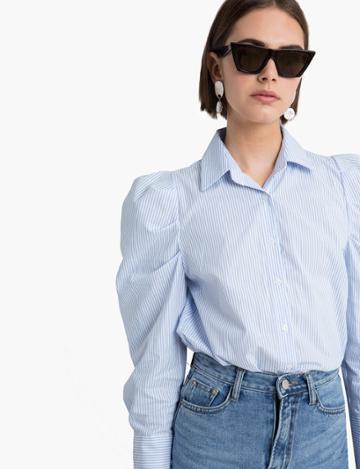 Pixie Market Striped Puffy Sleeve Shirt